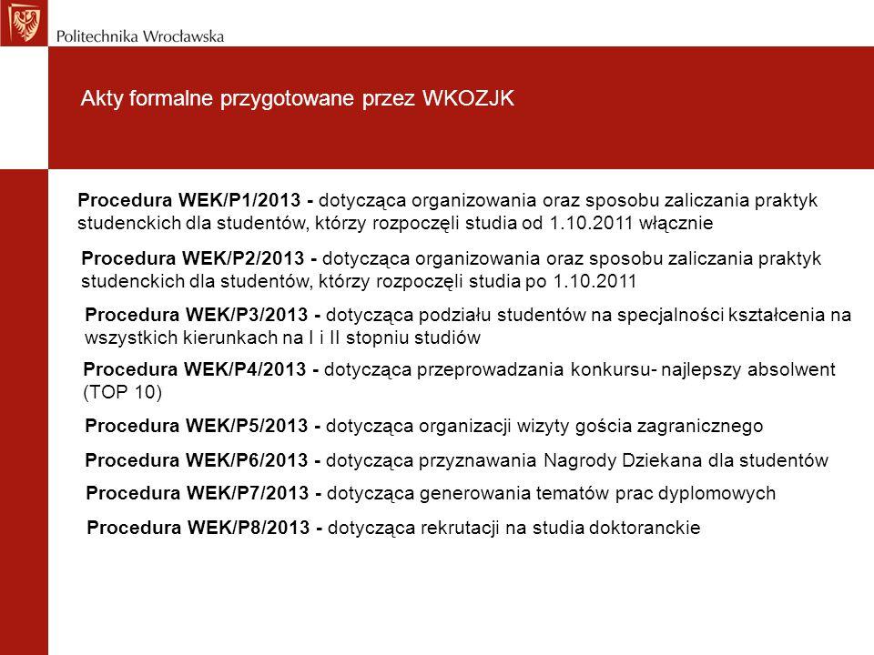 Akty formalne przygotowane przez WKOZJK Procedura WEK/P1/2013 - dotycząca organizowania oraz sposobu zaliczania praktyk studenckich dla studentów, któ