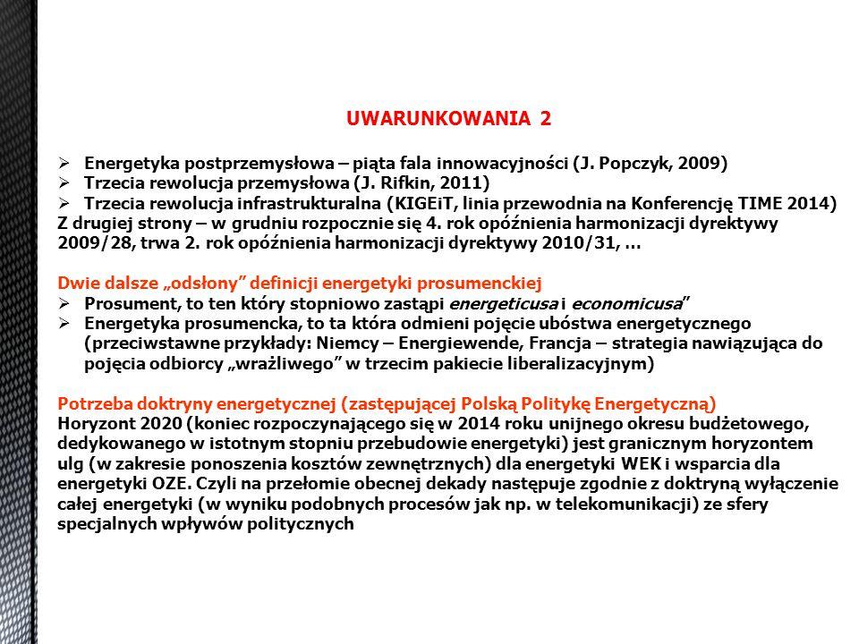 UWARUNKOWANIA 2  Energetyka postprzemysłowa – piąta fala innowacyjności (J. Popczyk, 2009)  Trzecia rewolucja przemysłowa (J. Rifkin, 2011)  Trzeci