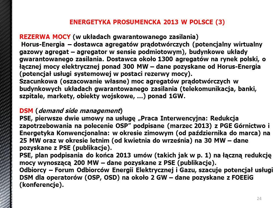 24 ENERGETYKA PROSUMENCKA 2013 W POLSCE (3) REZERWA MOCY (w układach gwarantowanego zasilania) Horus-Energia – dostawca agregatów prądotwórczych (pote