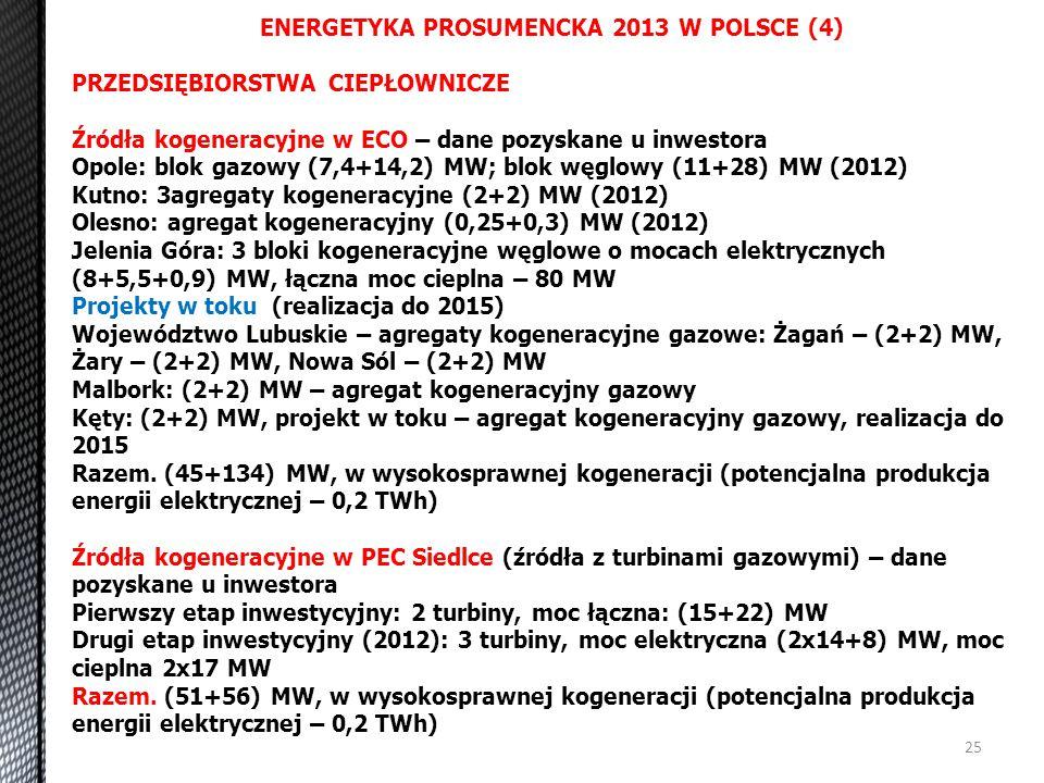 25 ENERGETYKA PROSUMENCKA 2013 W POLSCE (4) PRZEDSIĘBIORSTWA CIEPŁOWNICZE Źródła kogeneracyjne w ECO – dane pozyskane u inwestora Opole: blok gazowy (