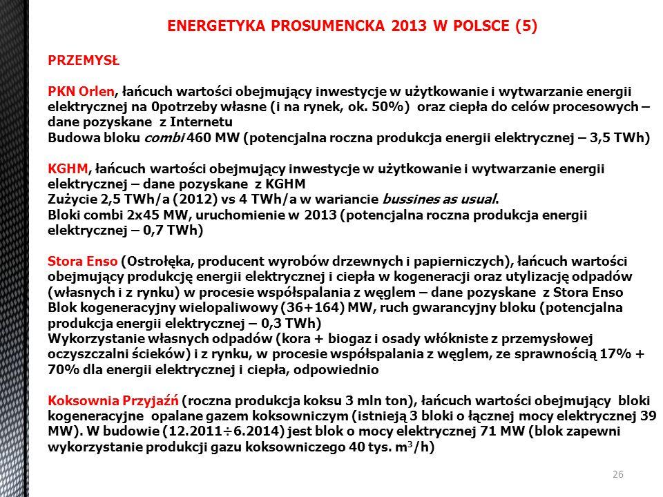 26 ENERGETYKA PROSUMENCKA 2013 W POLSCE (5) PRZEMYSŁ PKN Orlen, łańcuch wartości obejmujący inwestycje w użytkowanie i wytwarzanie energii elektryczne
