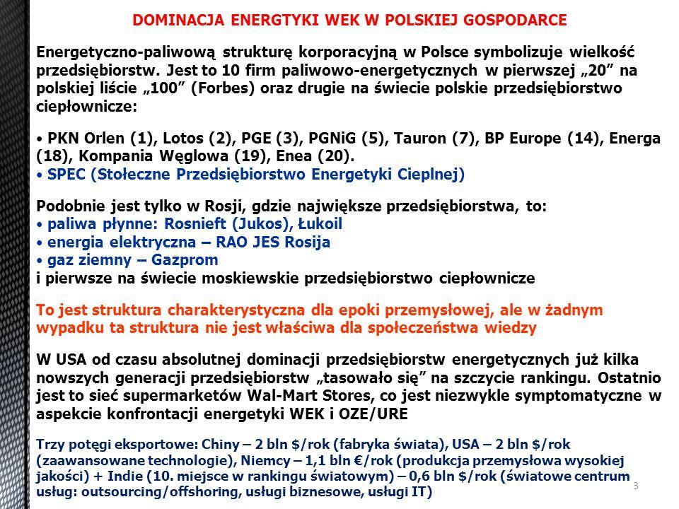 3 DOMINACJA ENERGTYKI WEK W POLSKIEJ GOSPODARCE Energetyczno-paliwową strukturę korporacyjną w Polsce symbolizuje wielkość przedsiębiorstw. Jest to 10
