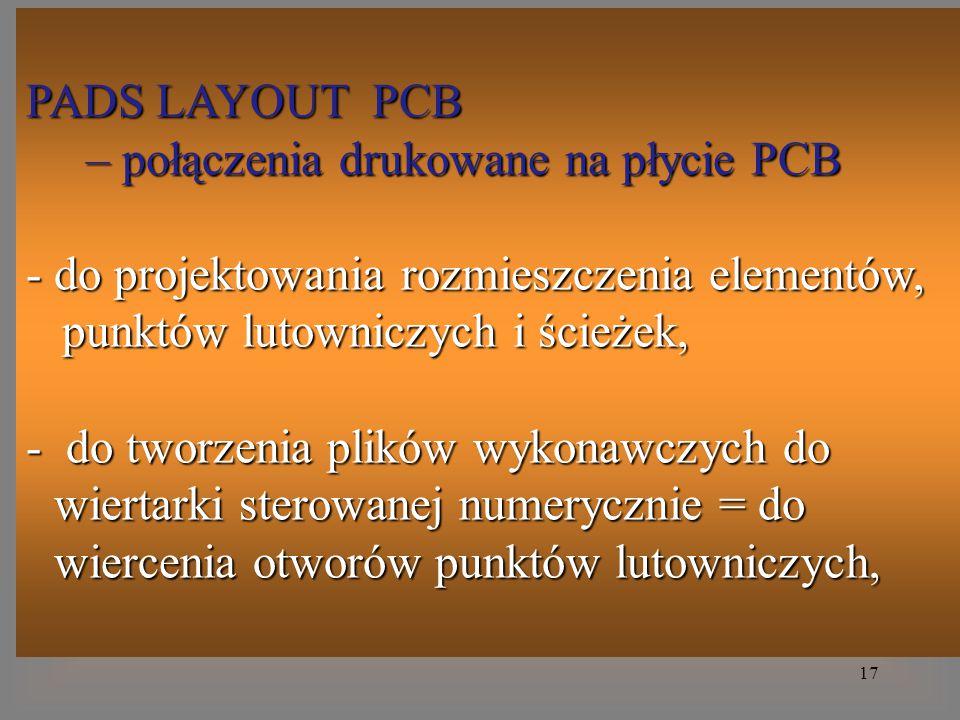 17 PADS LAYOUT PCB – połączenia drukowane na płycie PCB – połączenia drukowane na płycie PCB - do projektowania rozmieszczenia elementów, punktów luto