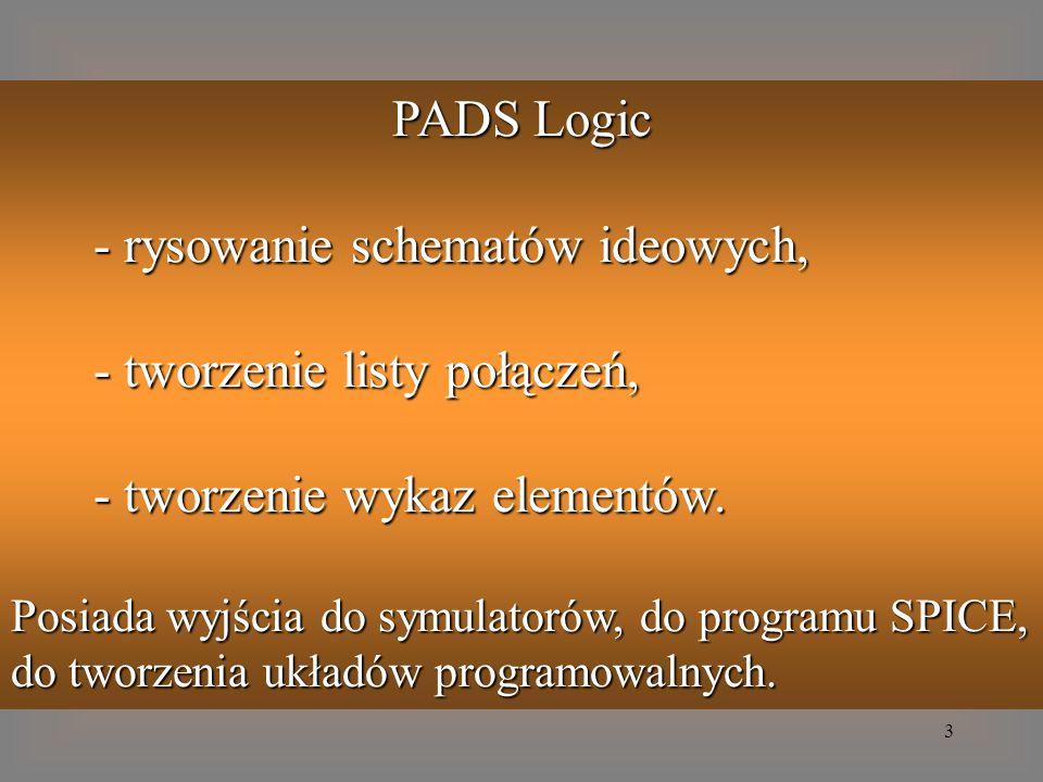 3 PADS Logic - rysowanie schematów ideowych, - tworzenie listy połączeń, - tworzenie wykaz elementów. Posiada wyjścia do symulatorów, do programu SPIC
