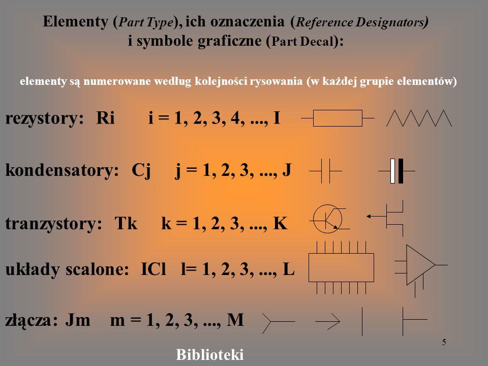 5 Elementy ( Part Type ), ich oznaczenia ( Reference Designators ) i symbole graficzne ( Part Decal ): elementy są numerowane według kolejności rysowa