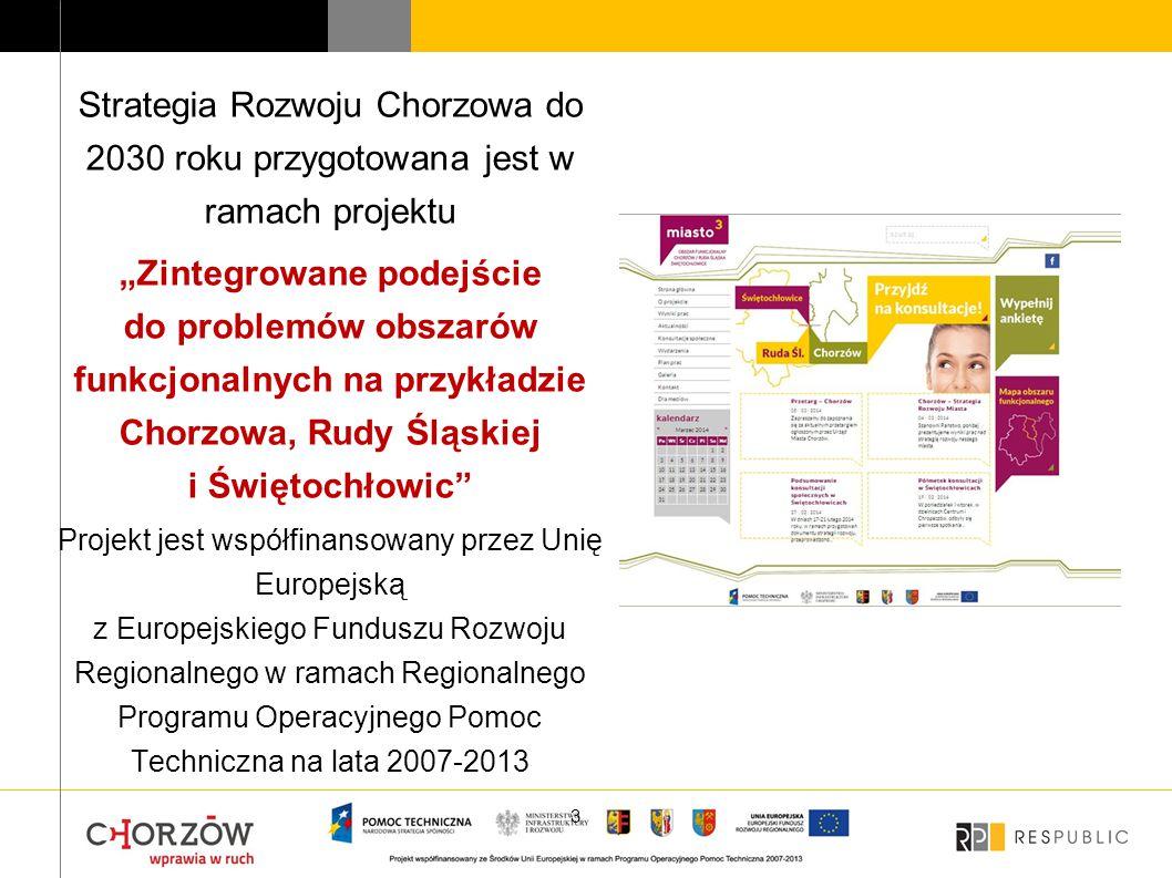 """Strategia Rozwoju Chorzowa do 2030 roku przygotowana jest w ramach projektu """"Zintegrowane podejście do problemów obszarów funkcjonalnych na przykładzi"""