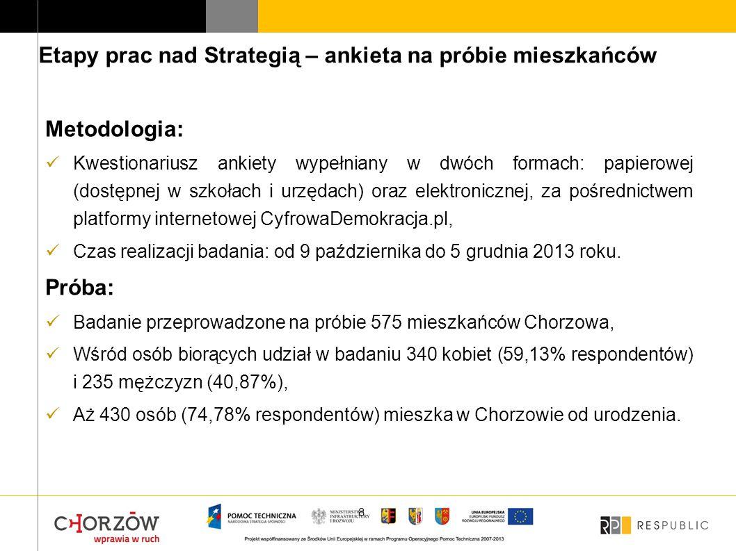 """Prawie trzy czwarte badanych uznało, że Chorzów to dobre miejsce do mieszkania (417; 72,52%), Wśród badanych 390 osób (67;83%) chciałoby aby ich dzieci w przyszłości mieszkały w Chorzowie, Najlepiej oceniane obszary życia w mieście to: dostępność placówek handlowych (180; 31,30% odpowiedzi """"bardzo dobrze ), jakość oferty kulturalnej (129; 22,43%) oraz tereny zielone (105;18,26%), Najniższe oceny uzyskały: możliwość znalezienia pracy w mieście (165; 28,70% odpowiedzi """"bardzo źle ), zaspokojenie potrzeb mieszkaniowych (94; 16,35%) oraz estetyka i czystość w mieście (86; 14,96%)."""