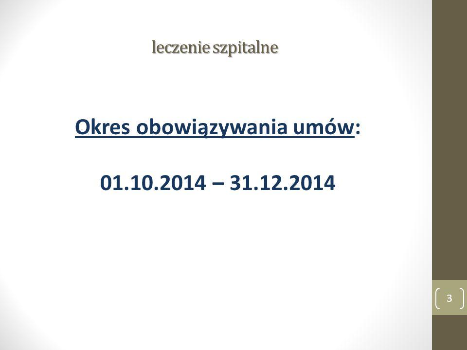 leczenie szpitalne Okres obowiązywania umów: 01.10.2014 – 31.12.2014 3