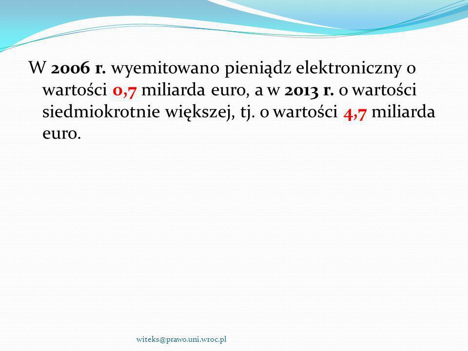 W 2006 r. wyemitowano pieniądz elektroniczny o wartości 0,7 miliarda euro, a w 2013 r. o wartości siedmiokrotnie większej, tj. o wartości 4,7 miliarda