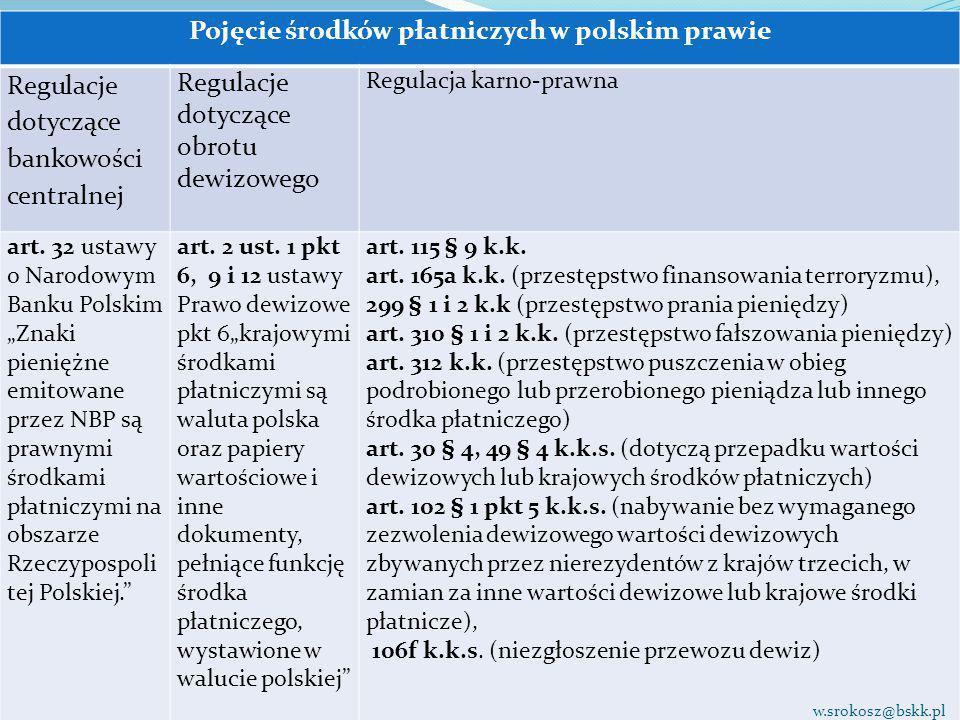 Pojęcie środków płatniczych w polskim prawie Regulacje dotyczące bankowości centralnej Regulacje dotyczące obrotu dewizowego Regulacja karno-prawna ar