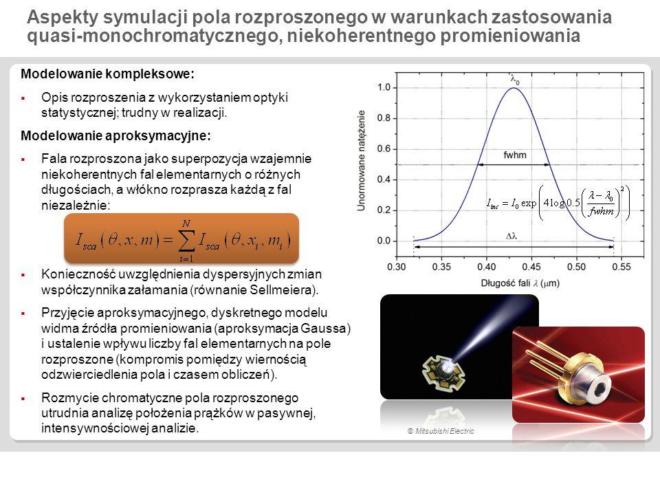 Wpływ quasi-monochromatycznego, niekoherentnego promieniowania na pole rozproszone pod niewielkim kątem  = 0,32  0,54 µm (a), 0,4045  0,6245 µm (b), N = 2201, szkło Schott N-PSK3,  = 1E-8 a) 0 : 0.430 µm  : 10  b) 0 : 0.5145 µm  : 90 