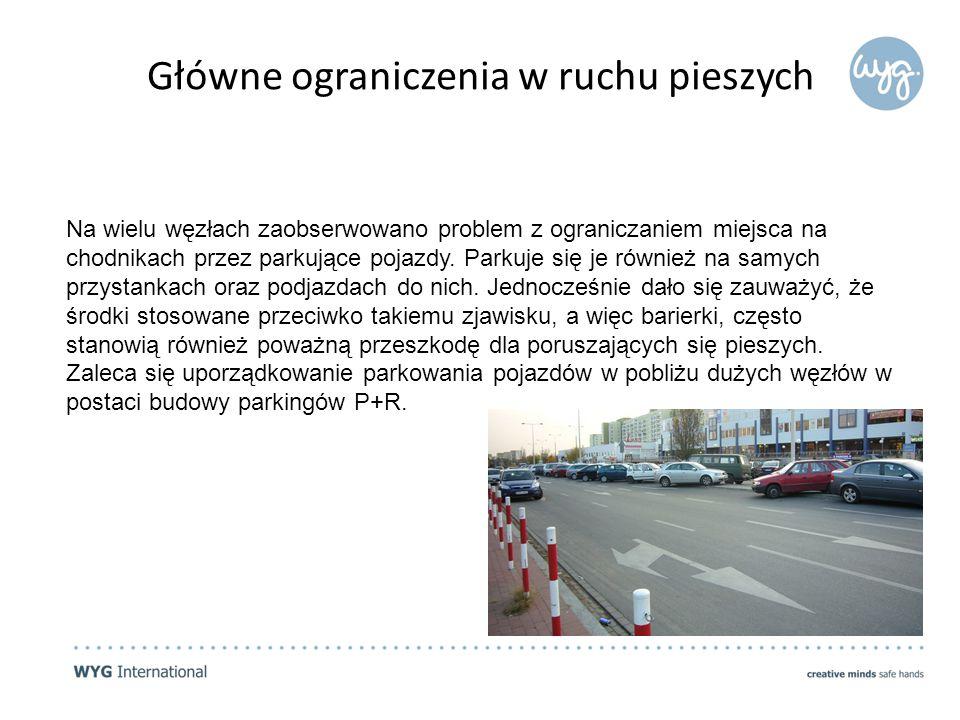 Na wielu węzłach zaobserwowano problem z ograniczaniem miejsca na chodnikach przez parkujące pojazdy.