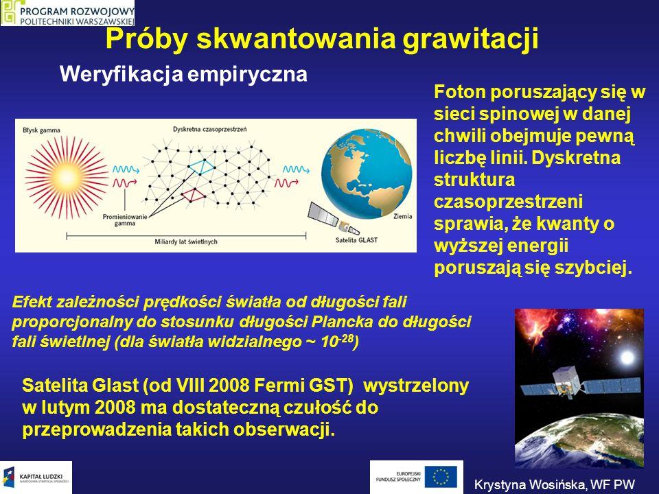 Próby skwantowania grawitacji Satelita Glast (od VIII 2008 Fermi GST) wystrzelony w lutym 2008 ma dostateczną czułość do przeprowadzenia takich obserw
