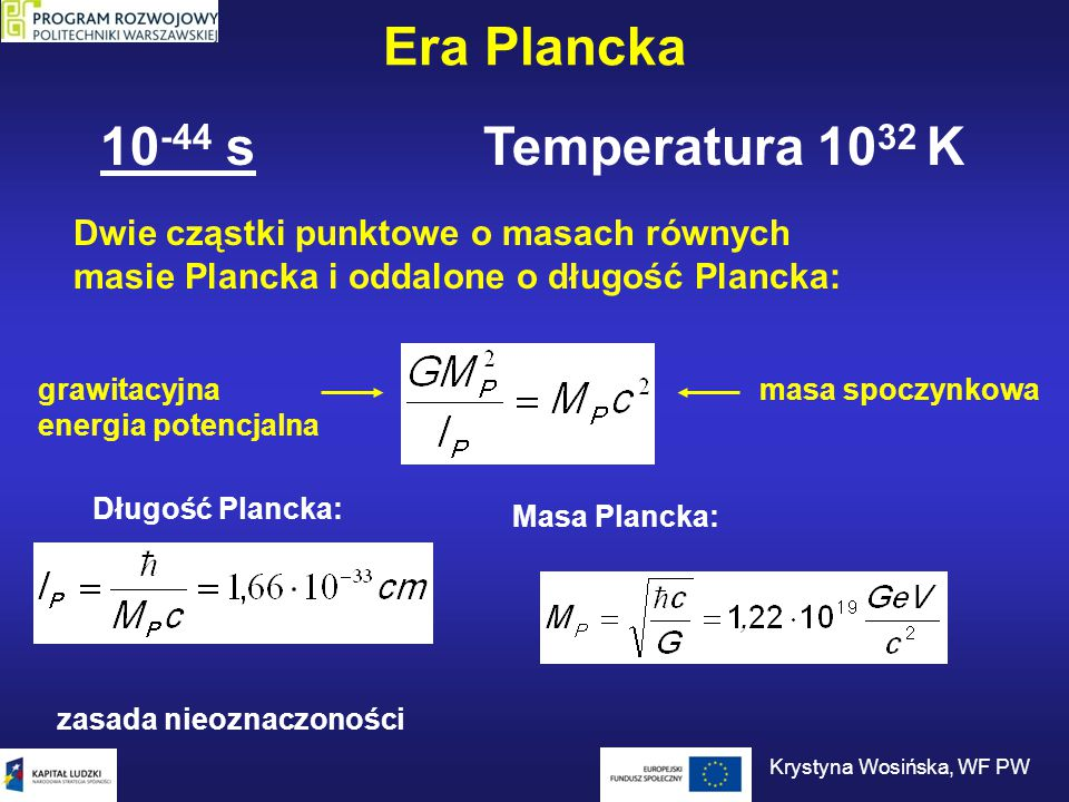 Era Plancka Aby opisać Wszechświat w erze Plancka, trzeba połączyć teorię grawitacji z mechaniką kwantową.