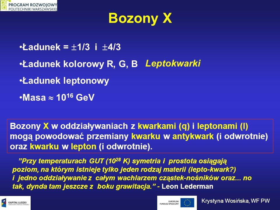 Bozony X Ładunek =  1/3 i  4/3 Ładunek kolorowy R, G, B Ładunek leptonowy Masa  10 16 GeV Bozony X w oddziaływaniach z kwarkami (q) i leptonami (l)