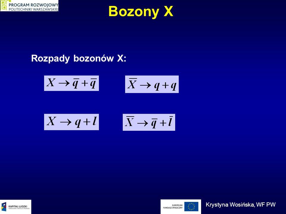 Bozony X Rozpady bozonów X: Krystyna Wosińska, WF PW