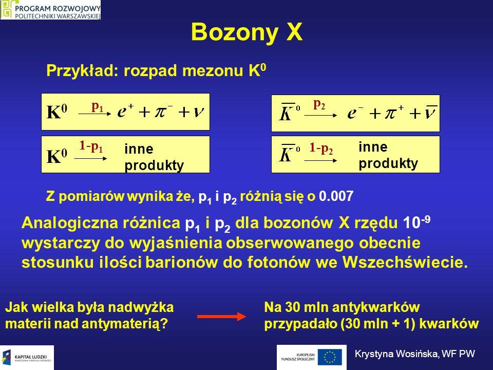 Bozony X Przykład: rozpad mezonu K 0 K0K0 p1p1 K0K0 1-p 1 inne produkty p2p2 1-p 2 inne produkty Z pomiarów wynika że, p 1 i p 2 różnią się o 0.007 An