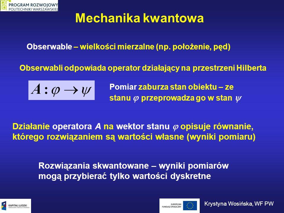Oddziaływania Wirtualne cząstki przenoszące oddziaływanie Zasada nieoznaczoności: czas 1 cząstka wysyła i pochłania cząstki wirtualne 1 cząstka wysyła, a 2 cząstka pochłania cząstki wirtualne Krystyna Wosińska, WF PW