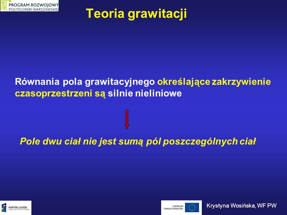 Odziaływanie elektromagnetyczne Działa na ładunki elektryczne Odpowiedzialne za wiązania chemiczne Nośnik – foton (  ) Zasięg – nieskończony Krystyna Wosińska, WF PW