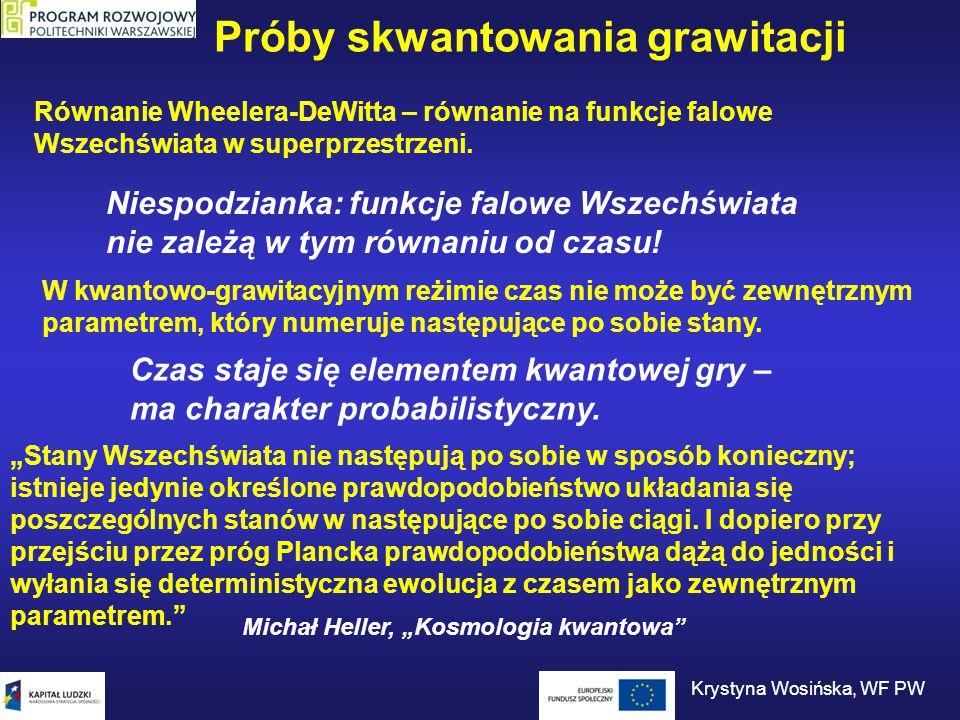 """Próby skwantowania grawitacji Michał Heller, """"Początek jest wszędzie Podstawą opisu świata w erze Plancka – geometria nieprzemienna Nie dopuszcza pojęć lokalnych (miejsce w przestrzeni, chwila w czasie) Era Plancka – aczasowa i aprzestrzenna Krystyna Wosińska, WF PW"""
