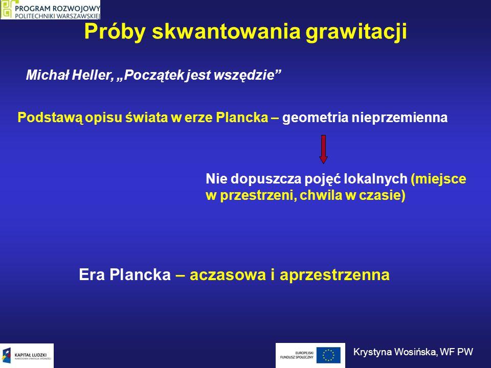 """Próby skwantowania grawitacji Michał Heller, """"Początek jest wszędzie"""" Podstawą opisu świata w erze Plancka – geometria nieprzemienna Nie dopuszcza poj"""