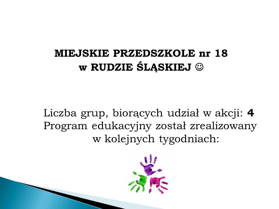 MIEJSKIE PRZEDSZKOLE nr 18 w RUDZIE ŚLĄSKIEJ Liczba grup, biorących udział w akcji: 4 Program edukacyjny został zrealizowany w kolejnych tygodniach: