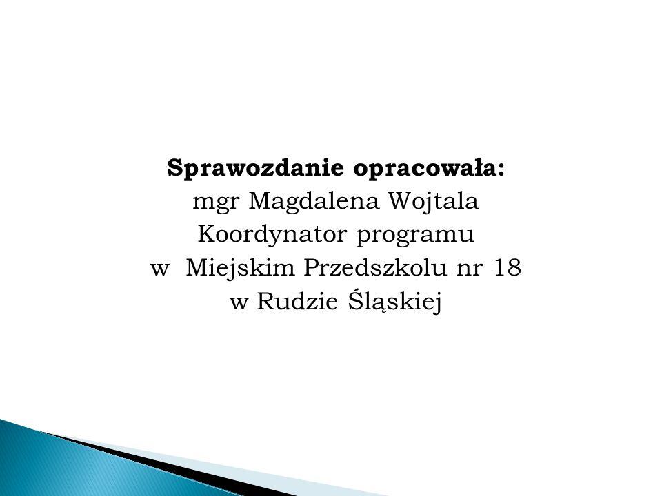 Sprawozdanie opracowała: mgr Magdalena Wojtala Koordynator programu w Miejskim Przedszkolu nr 18 w Rudzie Śląskiej
