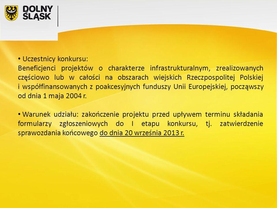 Uczestnicy konkursu: Beneficjenci projektów o charakterze infrastrukturalnym, zrealizowanych częściowo lub w całości na obszarach wiejskich Rzeczpospolitej Polskiej i współfinansowanych z poakcesyjnych funduszy Unii Europejskiej, począwszy od dnia 1 maja 2004 r.