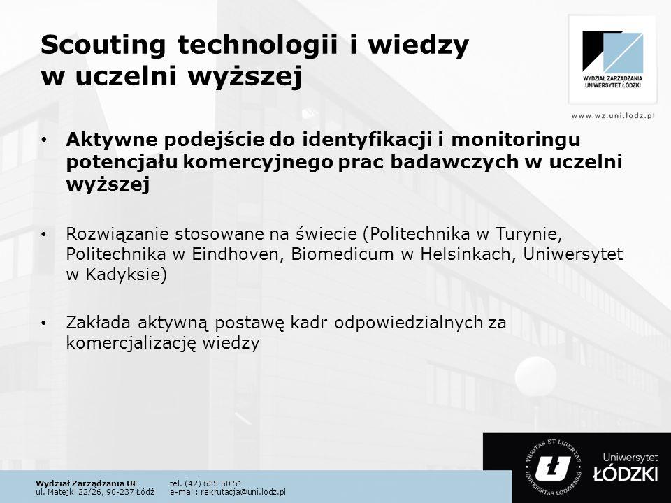 Wydział Zarządzania UŁtel. (42) 635 50 51 ul. Matejki 22/26, 90-237 Łódźe-mail: rekrutacja@uni.lodz.pl Scouting technologii i wiedzy w uczelni wyższej