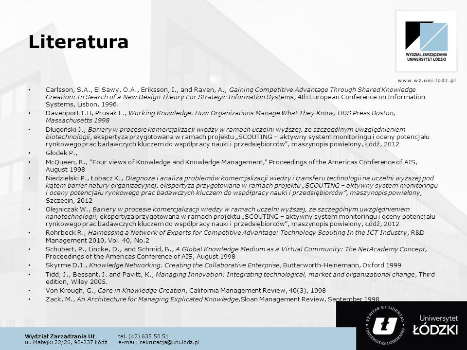 Wydział Zarządzania UŁtel. (42) 635 50 51 ul. Matejki 22/26, 90-237 Łódźe-mail: rekrutacja@uni.lodz.pl Literatura Carlsson, S.A., El Sawy, O.A., Eriks