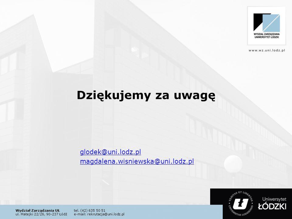 Wydział Zarządzania UŁtel. (42) 635 50 51 ul. Matejki 22/26, 90-237 Łódźe-mail: rekrutacja@uni.lodz.pl Dziękujemy za uwagę glodek@uni.lodz.pl magdalen