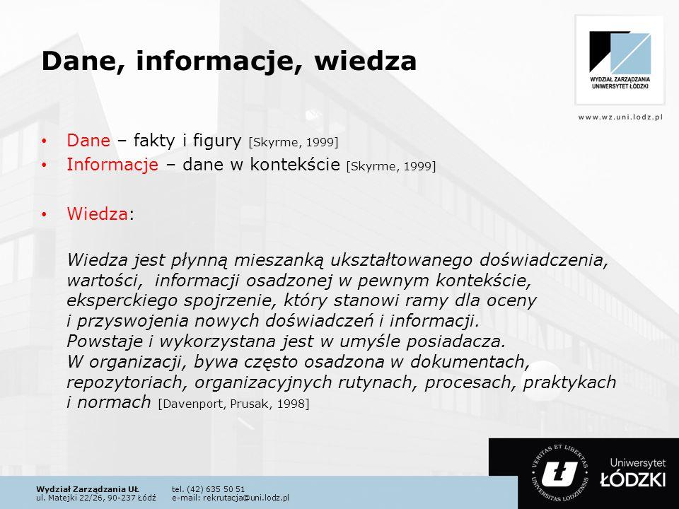 Wydział Zarządzania UŁtel. (42) 635 50 51 ul. Matejki 22/26, 90-237 Łódźe-mail: rekrutacja@uni.lodz.pl Dane, informacje, wiedza Dane – fakty i figury