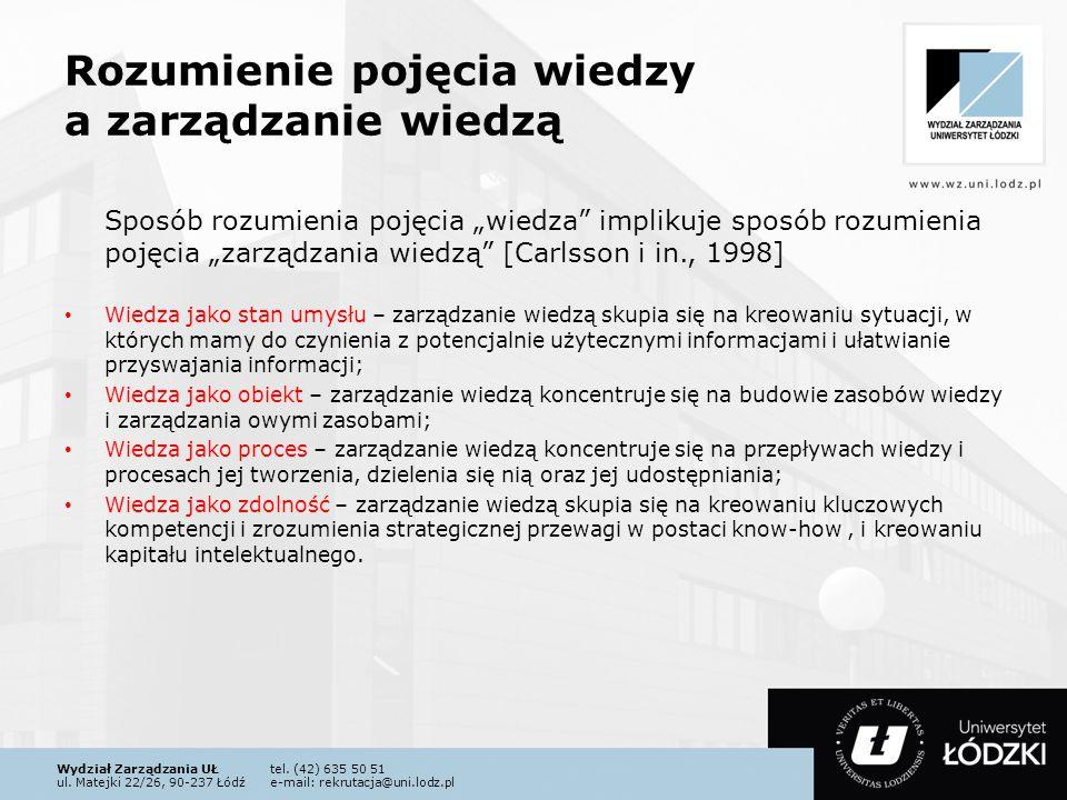 Wydział Zarządzania UŁtel. (42) 635 50 51 ul. Matejki 22/26, 90-237 Łódźe-mail: rekrutacja@uni.lodz.pl Rozumienie pojęcia wiedzy a zarządzanie wiedzą