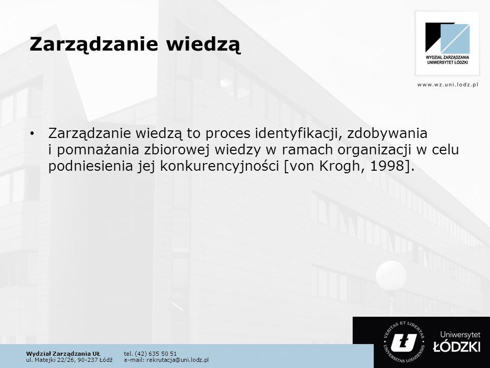 Wydział Zarządzania UŁtel. (42) 635 50 51 ul. Matejki 22/26, 90-237 Łódźe-mail: rekrutacja@uni.lodz.pl Zarządzanie wiedzą Zarządzanie wiedzą to proces