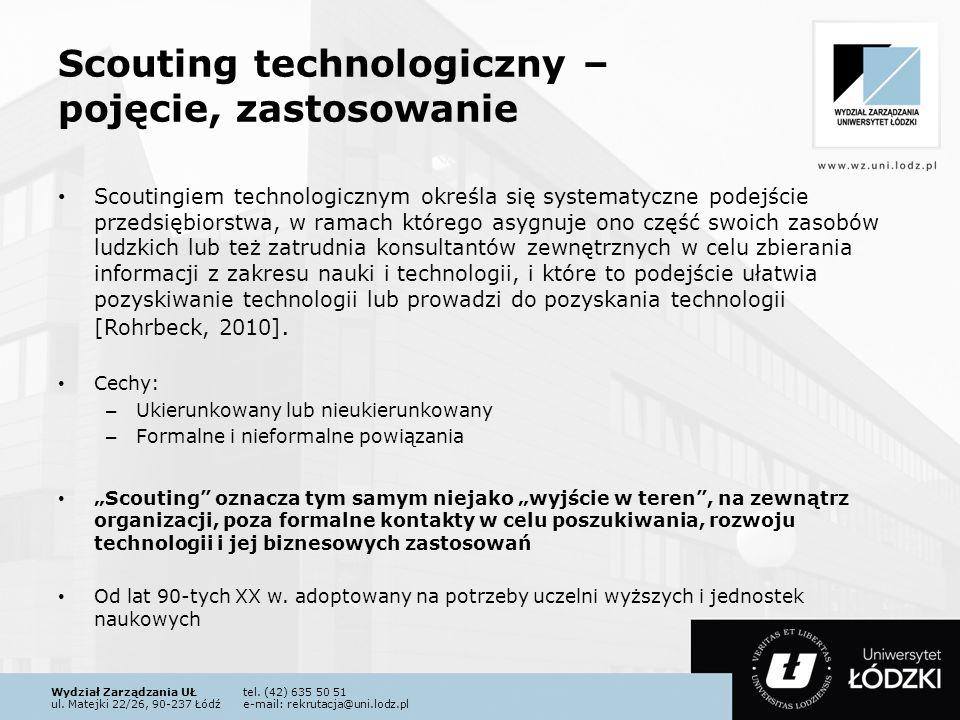 Wydział Zarządzania UŁtel. (42) 635 50 51 ul. Matejki 22/26, 90-237 Łódźe-mail: rekrutacja@uni.lodz.pl Scouting technologiczny – pojęcie, zastosowanie