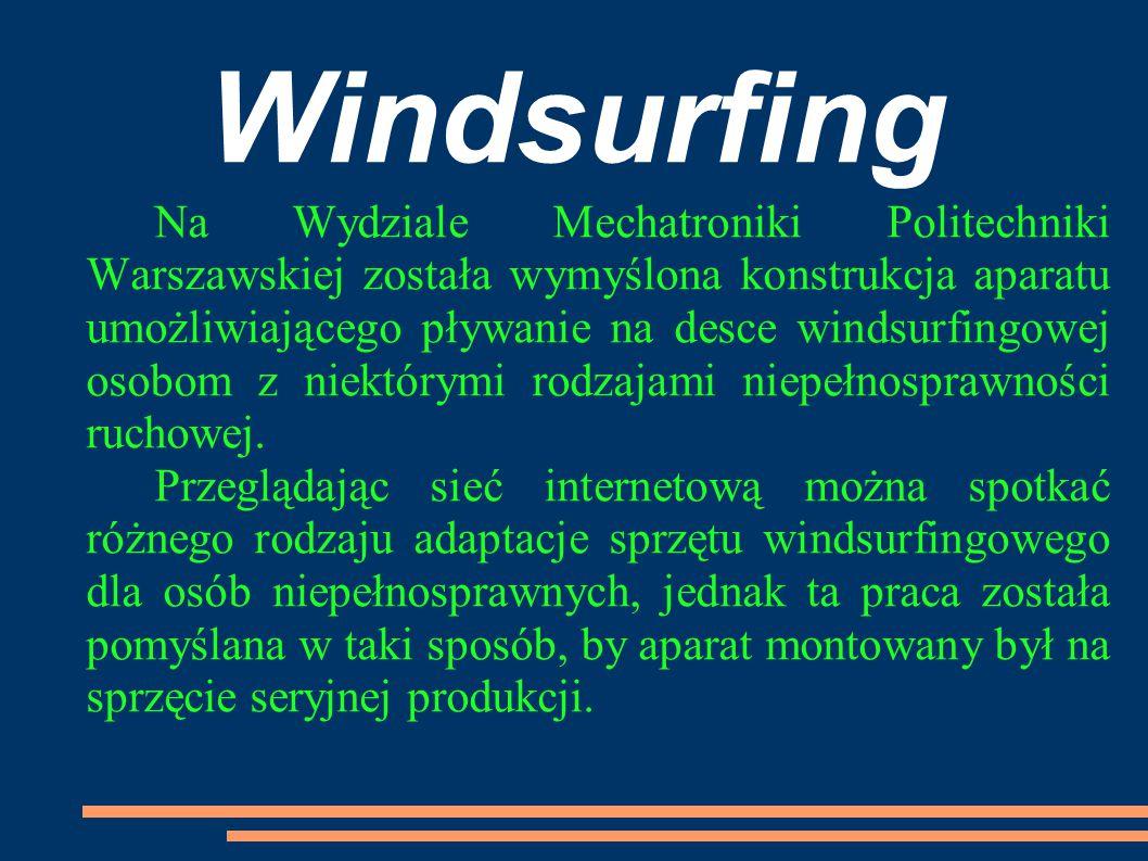 Windsurfing Na Wydziale Mechatroniki Politechniki Warszawskiej została wymyślona konstrukcja aparatu umożliwiającego pływanie na desce windsurfingowej