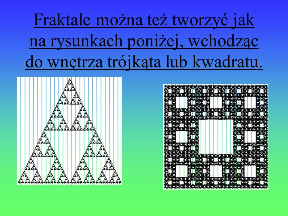 Fraktale można też tworzyć jak na rysunkach poniżej, wchodząc do wnętrza trójkąta lub kwadratu.