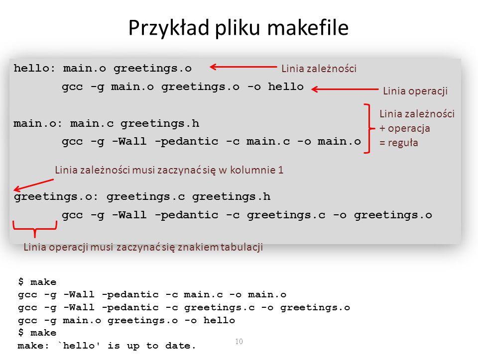 10 Przykład pliku makefile hello: main.o greetings.o gcc -g main.o greetings.o -o hello main.o: main.c greetings.h gcc -g -Wall -pedantic -c main.c -o main.o greetings.o: greetings.c greetings.h gcc -g -Wall -pedantic -c greetings.c -o greetings.o hello: main.o greetings.o gcc -g main.o greetings.o -o hello main.o: main.c greetings.h gcc -g -Wall -pedantic -c main.c -o main.o greetings.o: greetings.c greetings.h gcc -g -Wall -pedantic -c greetings.c -o greetings.o Linia zależności Linia zależności musi zaczynać się w kolumnie 1 Linia operacji Linia zależności + operacja = reguła Linia operacji musi zaczynać się znakiem tabulacji $ make gcc -g -Wall -pedantic -c main.c -o main.o gcc -g -Wall -pedantic -c greetings.c -o greetings.o gcc -g main.o greetings.o -o hello $ make make: `hello is up to date.