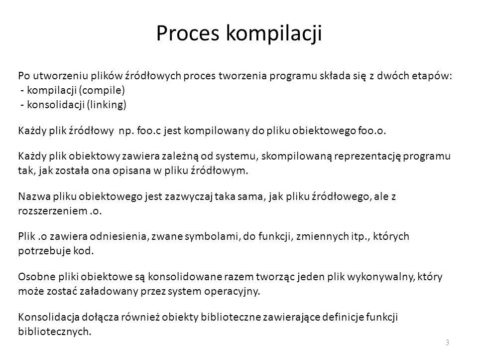 Dlaczego stosujemy konsolidację 4 Małe programy – jeden plik Większe programy: - Wiele linii kodu - Wiele komponentów - Więcej niż jeden programista Problemy: - Trudniej zarządzać długimi plikami (zarówno programistom, jak i komputerom) - Każda zmiana wymaga długiej kompilacji - Wielu programistów nie może modyfikować jednocześnie tego samego pliku - Pożądany jest podział na komponenty Podzielenie projektu na wiele plików - Dobry podział na komponenty - Mniej kompilacji przy zmianach w programie - Łatwiejsze zarządzanie strukturą i zależnościami w projekcie Język C posiada konstrukcje służące do odwołania do innych plików (extern) Podczas kompilacji można zlinkować wiele plików w celu stworzenia jednego programu.