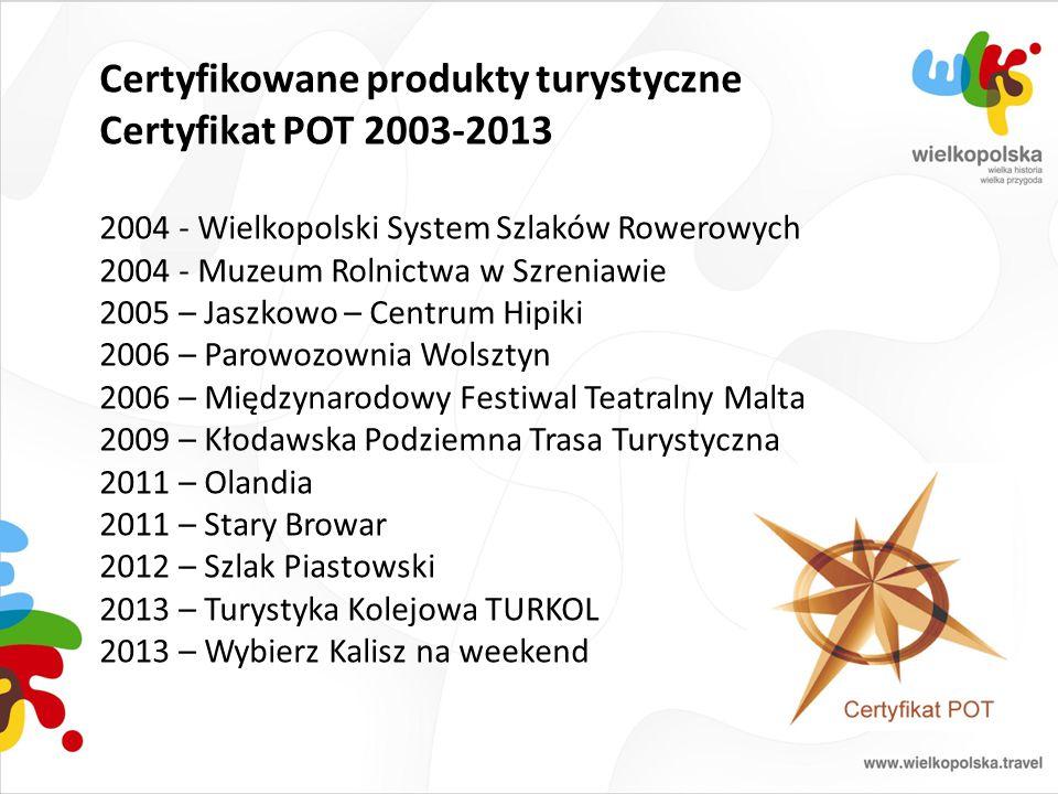 Certyfikowane produkty turystyczne Certyfikat POT 2003-2013 2004 - Wielkopolski System Szlaków Rowerowych 2004 - Muzeum Rolnictwa w Szreniawie 2005 –