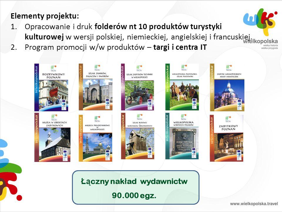 Elementy projektu: 1.Opracowanie i druk folderów nt 10 produktów turystyki kulturowej w wersji polskiej, niemieckiej, angielskiej i francuskiej. 2.Pro