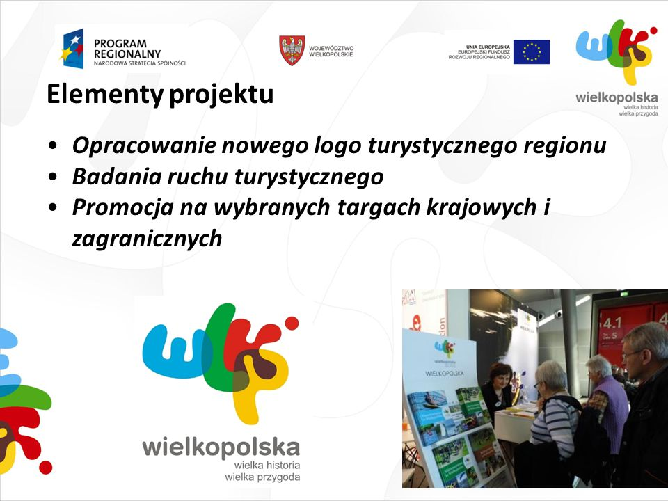 Elementy projektu Opracowanie nowego logo turystycznego regionu Badania ruchu turystycznego Promocja na wybranych targach krajowych i zagranicznych