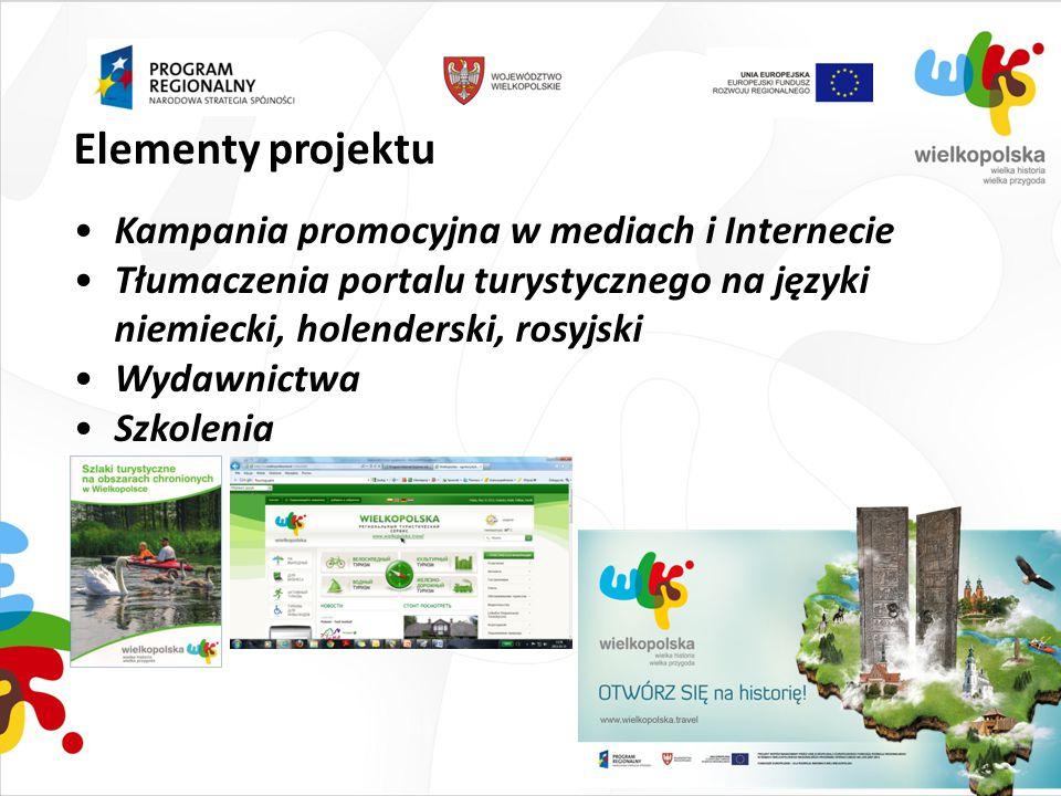 Elementy projektu Kampania promocyjna w mediach i Internecie Tłumaczenia portalu turystycznego na języki niemiecki, holenderski, rosyjski Wydawnictwa