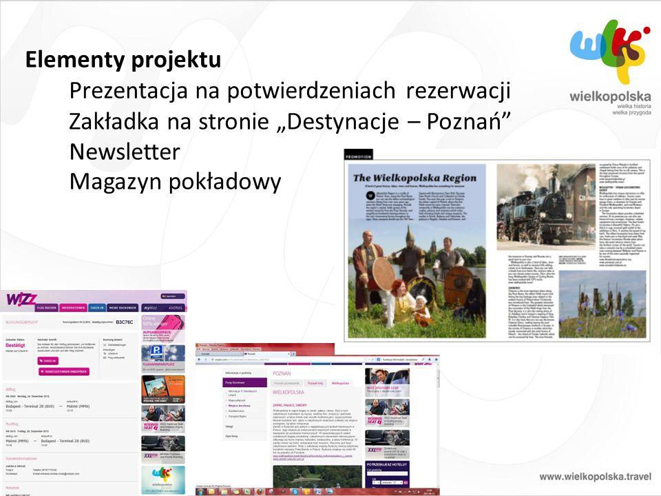 """Elementy projektu Prezentacja na potwierdzeniach rezerwacji Zakładka na stronie """"Destynacje – Poznań"""" Newsletter Magazyn pokładowy"""