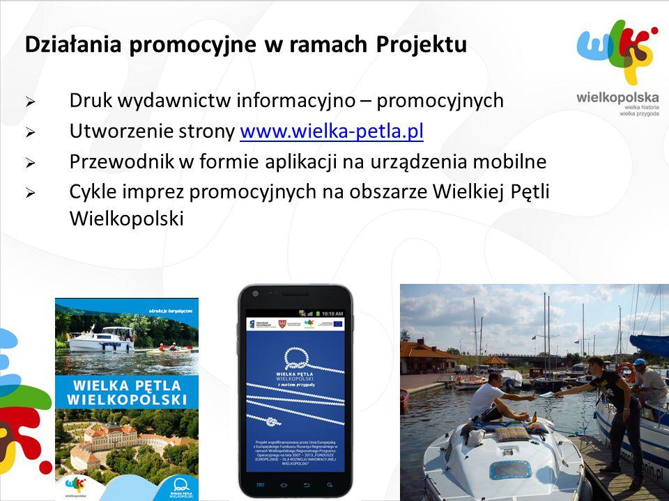 Działania promocyjne w ramach Projektu  Druk wydawnictw informacyjno – promocyjnych  Utworzenie strony www.wielka-petla.plwww.wielka-petla.pl  Prze