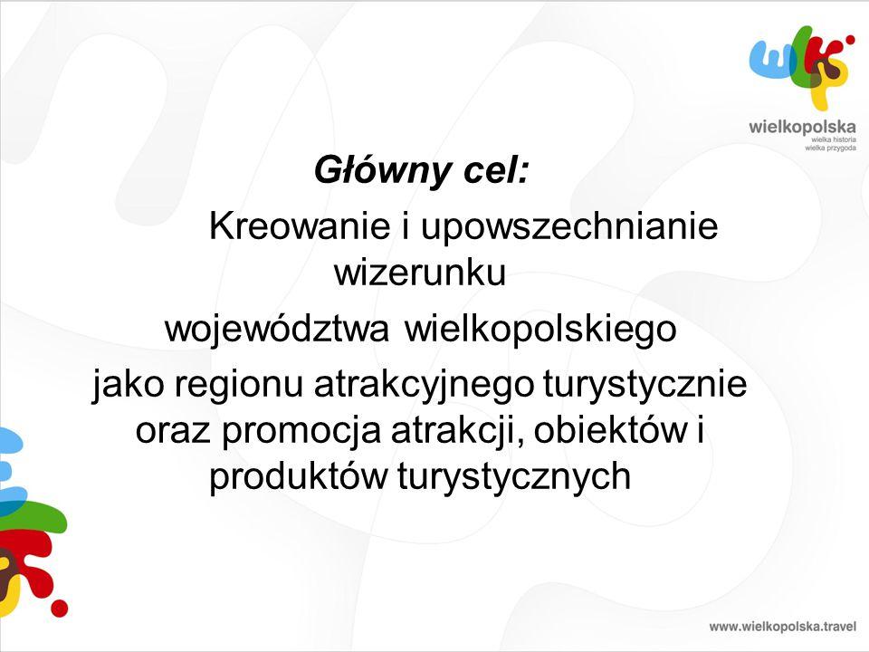 Główny cel: Kreowanie i upowszechnianie wizerunku województwa wielkopolskiego jako regionu atrakcyjnego turystycznie oraz promocja atrakcji, obiektów