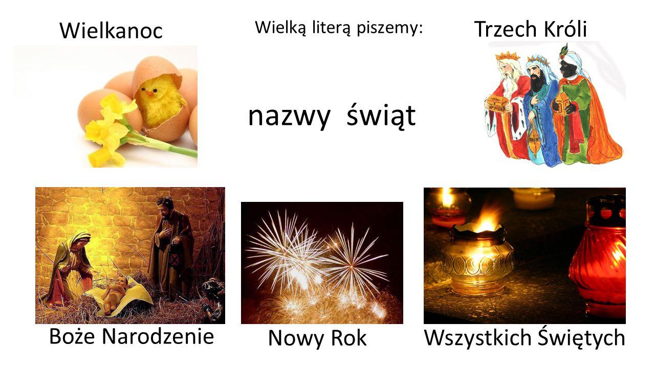 Nazwy geograficzne Wielką literą piszemy: kontynent Europa kraj Polska region Śląsk miasto Tychy osiedle Czułów