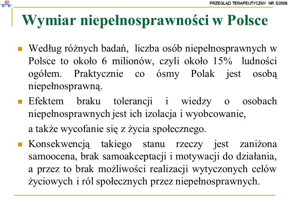 Wymiar niepełnosprawności w Polsce Według różnych badań, liczba osób niepełnosprawnych w Polsce to około 6 milionów, czyli około 15% ludności ogółem.