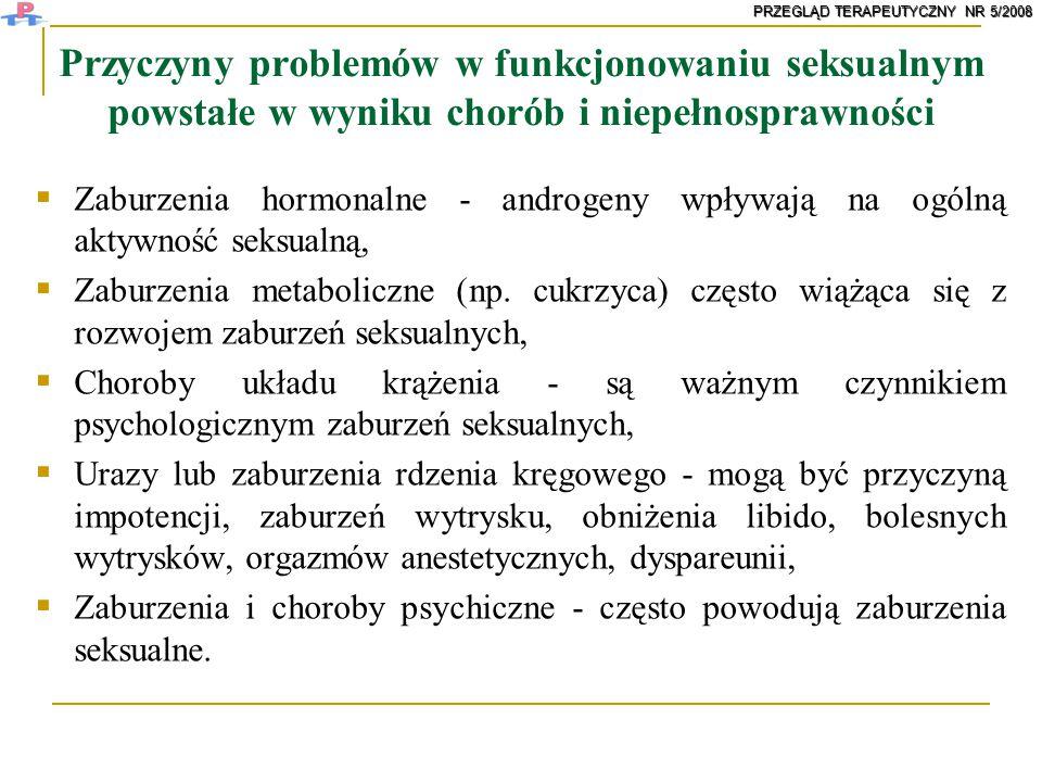 Przyczyny problemów w funkcjonowaniu seksualnym powstałe w wyniku chorób i niepełnosprawności  Zaburzenia hormonalne - androgeny wpływają na ogólną a