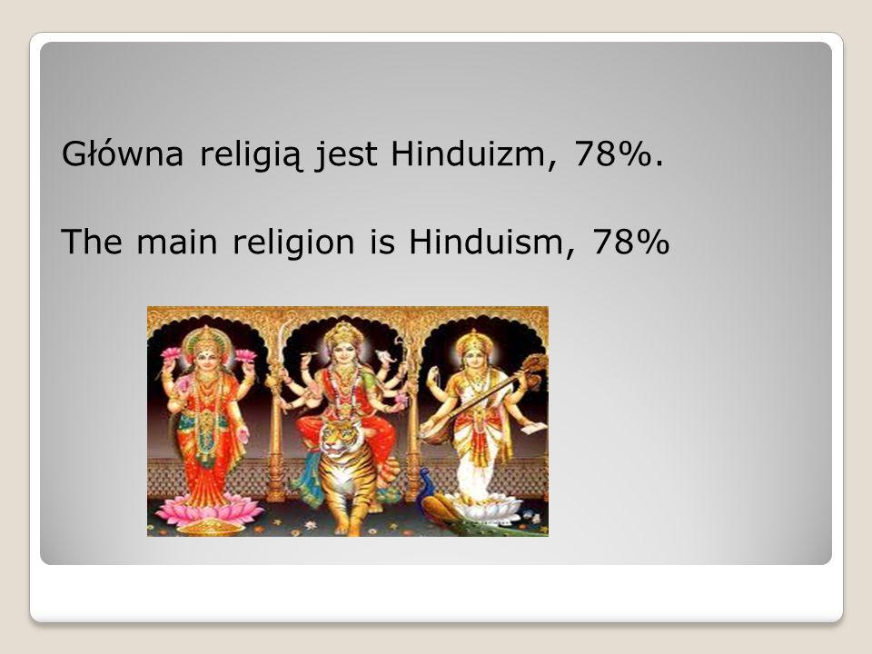Główna religią jest Hinduizm, 78%. The main religion is Hinduism, 78%